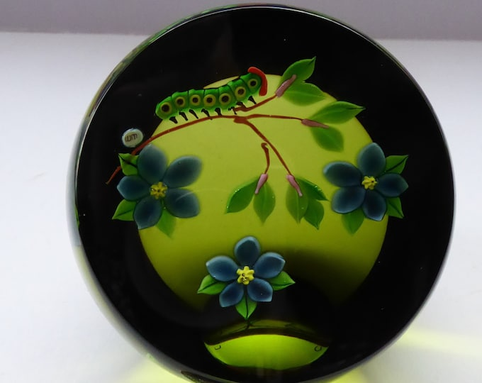 SCOTTISH Large 1993 Limited Edition Caithness CATERPILLAR Paperweight by William Manson. Signed to the base