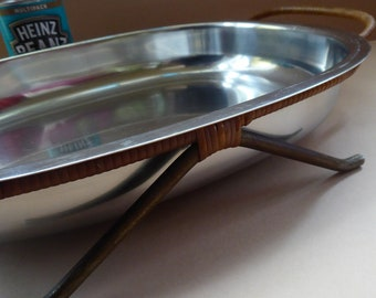 1960s DANISH LUNDTOFTE Stainless Steel Serving Dish. Rare with Original Metal Cane Coated Serving Stand
