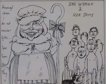 Willie Rushton (1937 - 1996). Vintage ORIGINAL Pen and Ink Caricature Drawing of the writer, FAY WELDON: Dressed as Little Bo Peep