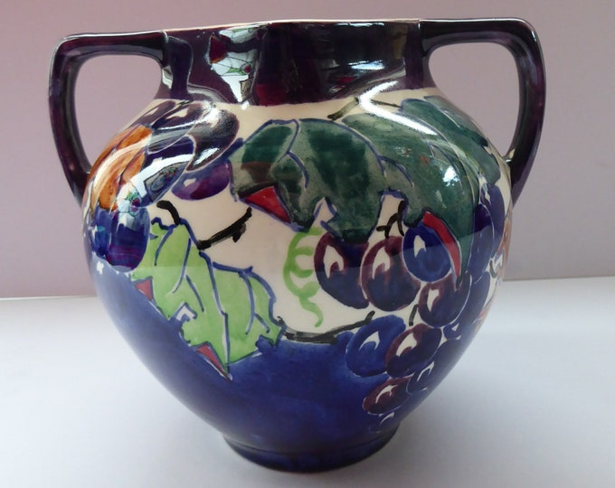 SCOTTISH POTTERY. Large Vase with Twin Handles. Bough Pottery; Hand Painted with Fruiting Vines by Richard Armour; 1920s