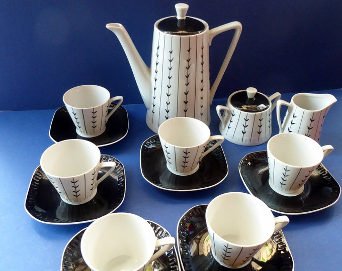 1950s POLISH COFFEE Set by WAWEL Porcelain. Stylish Mid Century Abstract Pattern. Complete Set