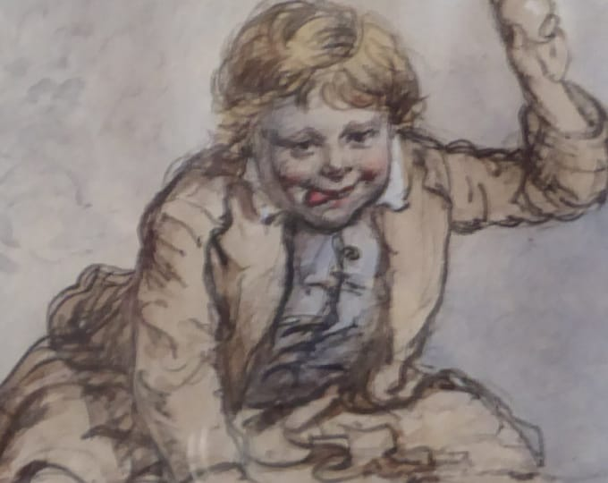 SCOTTISH ART: Original Victorian Drawing of a Little Boy in a Kilt Throwing Fruit. Signed S. Edmonston
