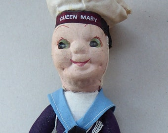 Sweet 1940s Cruise Ship Souvenir Jollyboy Cloth Sailor Doll for HMS Queen Mary