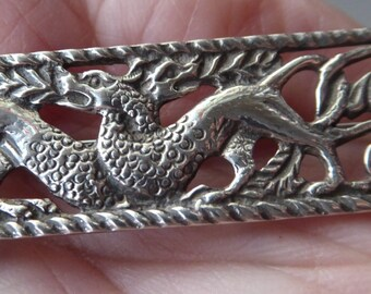 1960s SCOTTISH SILVER Brooch after an earlier Alexander Ritchie Iona Design with Zoomorphic Celtic Beasts