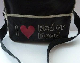 Vintage DESIGNER 1980s I love Red or Dead Cross Body or Messenger Bag with Zip Closure and Front Open Pocket Section