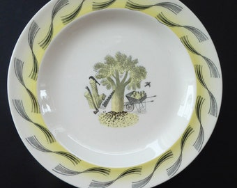 """ERIC RAVILIOUS. Vintage 1953 Original Wedgwood Side Plates from the """"Garden Series"""". 7 inches"""