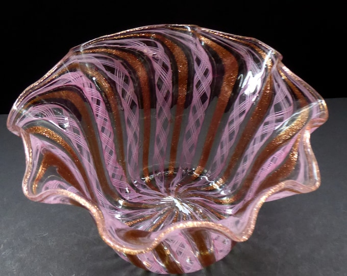 Vintage Venetian / Salviati Murano Glass Latticino Zanfirico Glass Finger Bowl; Gold Inclusions and Frilled Edges
