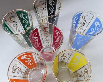 Fabulous Set of 1950s Harlequin Drinking Glasses. Six in Total in the Set