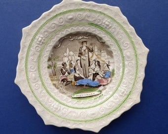Rare 1840s STAFFORDSHIRE Pearlware Nursery Plate. MISSIONARY Image. Transfer Printed with Raised Decorative Border