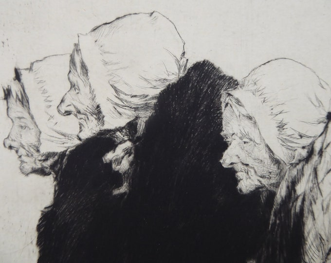 "Percy Lancaster (1878 - 1951).  ""Three Old Breton Women""  Etching and drypoint on paper"