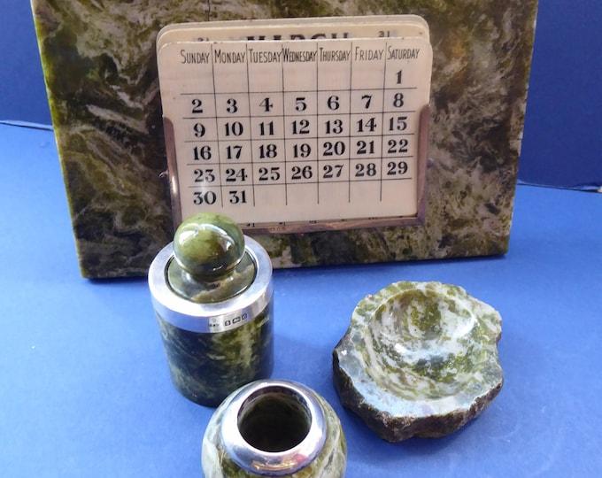 EDWARDIAN Desk Set. Antique Green Connemara Marble: Calendar, Inkwell, Sand Pot & Stamp Wetter. Hallmarked SILVER MOUNTS