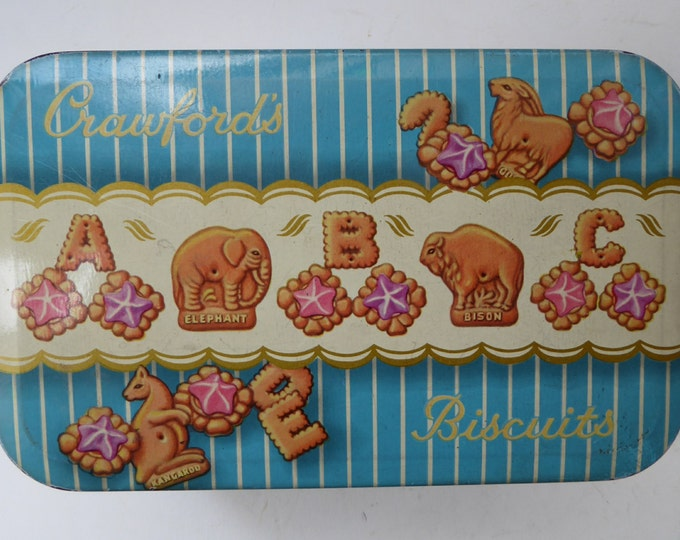 1950s Vintage Tin for Crawford's ALPHABET BISCUITS. Rare Vintage Tin in Excellent Condition