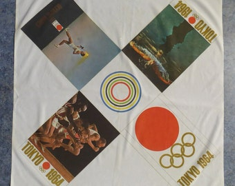RARE 1960s Olympic Games Souvenir Head Scarf. Genuine Original Toyko Olympic Games 1964. KAMEKURA YUUSAKU Design