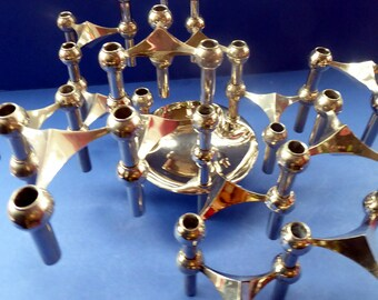 1960s SPACE AGE Set of 15 Matching German CHROME Nagel Candlesticks. With Rarer Central Base Unit