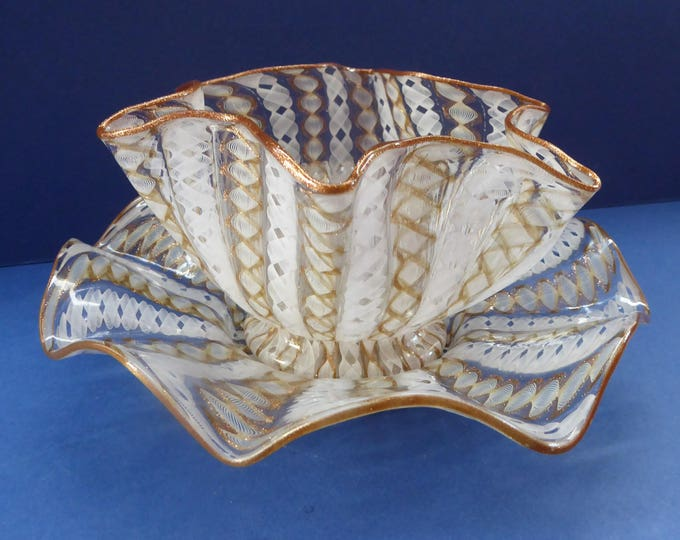 Vintage Venetian / Salviati Murano Glass Latticino Zanfirico Glass Finger Bowl & Saucer; Gold Inclusions and Frilled Edges
