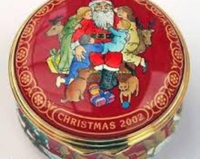 Vintage Halcyon Days Enamels Christmas Box. Santa Visiting Children at Christmas. Excellent Condition