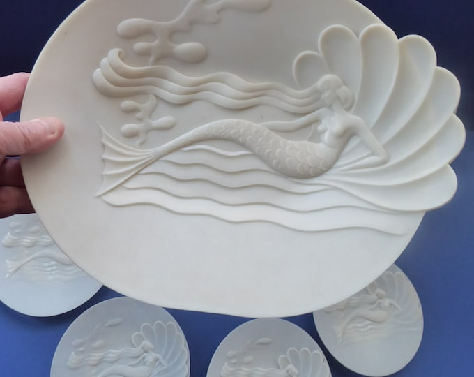 MERMAIDS. 1930s Art Deco MODERN STYLISTS Set of Seven Early Hard Plastic Serving Plates
