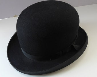 LARGE 1930s London Style BOWLER HAT. Good Quality Original Vintage Bowler. Nice, Clean Condition. Size 7 1/4