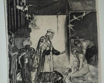 JOHN COPLEY (1875 - 1950). Original Pencil Signed Lithograph. Nativity (1914)