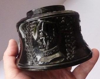 GENERAL GORDON of Khartoum. 1885 Commemorative Ink Well. Rare Victorian Dark AMETHYST Antique Pressed Flint Glass