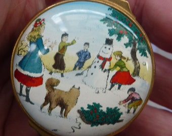 Vintage Halcyon Days (Bilston and Battersea) Enamels Christmas Box 1979. Children Building a Snowman. Excellent Condition