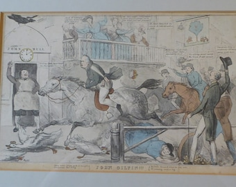 """Antique SATIRICAL PRINT, 1831. """"John Gilpin"""" by John Doyle. Lithograph published by Thomas McLean"""