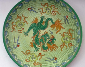 Crown Ducal Manchu charger, c 1936. Designed by Charlotte Rhead; with gold tube-lined dragon painted in colours on a pale green ground