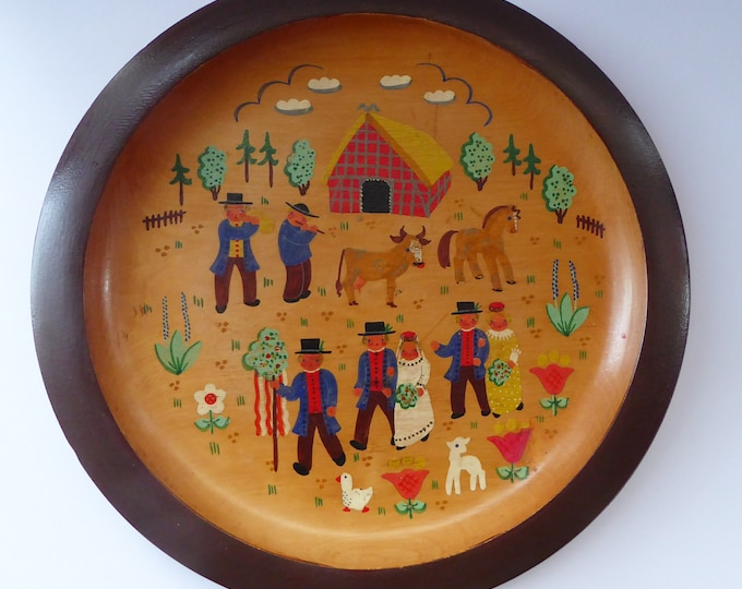SWEDISH FOLK ART 1930s Wooden Plate. Rare Hand Painted Wedding Plate. Signed with initials and dated 1936 on the reverse