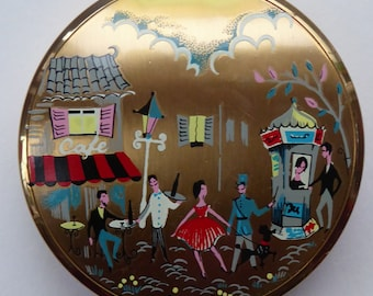Fabulous 1950s Vintage STRATTON POWDER COMPACT. Parisian / French Scene. Cute Cartoon Illustration