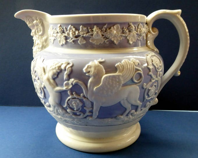 Extremely Rare 1820s RIDGWAY GRIFFIN and Mask Head Jug or Pitcher. Lilac Ground with Applied White Sprigware Decoration