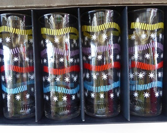 1950s SHERDLEY Six Slim Jims Drinking Glasses. ? Abstract Design by Alexander Hardie-Williamson