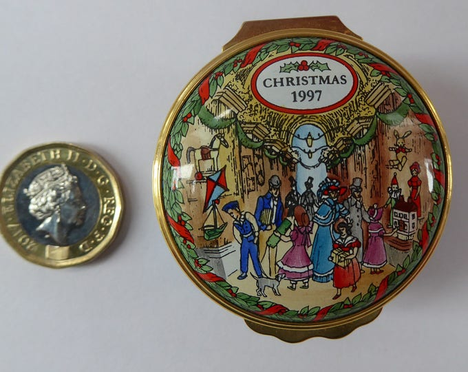 Vintage Halcyon Days Enamels Christmas Box 1997. Victorians Shopping in a Christmas Arcade. Excellent Condition