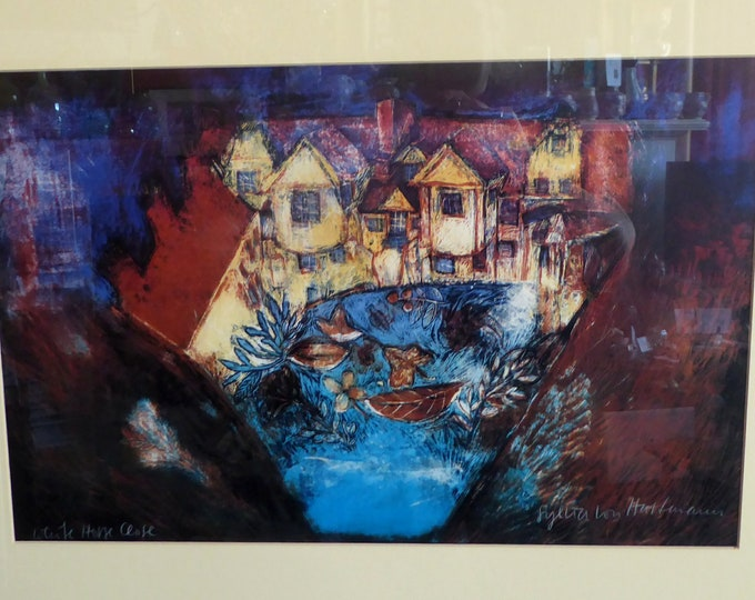 SCOTTISH ART. Limited Edition Colour Lithograph by Sylvia von Hartmann. White Horse Close, Edinburgh. Signed & dated in pencil