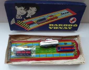 Vintage HUNGARIAN Wind-Up Tin Plate Toy. RAKODO VONAT. Train on Track Carrying Cargo Goods