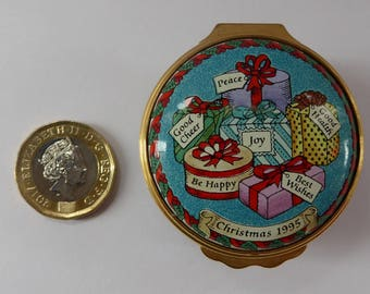 Vintage Halcyon Days Enamels Christmas Box 1995. Bundle of Christmas Presents. Excellent Condition