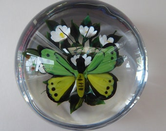 Rare RICK AYOTTE Artist's Proof 1992 Paperweight: Butterfly with Green and Yellow Wings. SIGNED