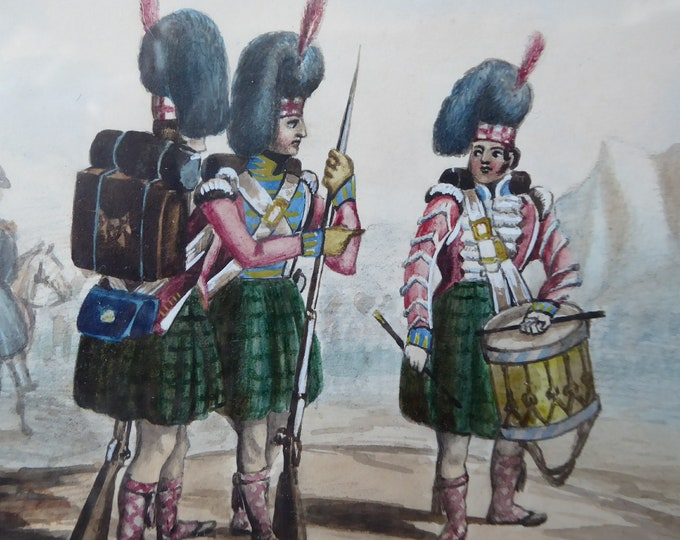 SCOTTISH SCHOOL. Antique 1830s Watercolour Highland Regiment / Black Watch. Military History Interest