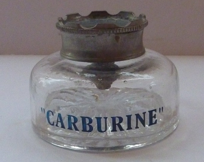 ADVERTISING INKWELL. Early 20th Century Very Rare CARBURINE  Motor Spirit / Oil Glass Inkwell