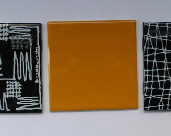 1960s VINTAGE Wall TILES. H&R Johnson. Set of Three Individual Abstract Designs. 4 1/2 inches each side