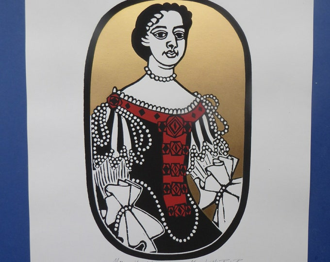 SCOTTISH ART. 1975 Original Willie Rodger Linocut on paper. Historical Figures: Queen Mary of Orange. SIGNED in pencil