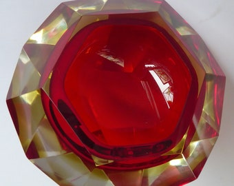 Vintage Bright Red and Yellow Faceted Murano SOMMERSO Geode Mandruzzato Italian Glass Bowl or Ashtray