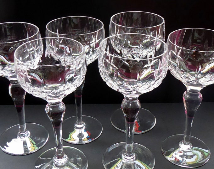 Vintage STUART Crystal. Set of SIX Carlingford Pattern Wine or Hock Glasses. All in Excellent Condition with etched Stuart Mark