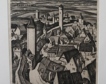 SCOTTISH ART. William Wilson (1905 - 1972). The Walls, Rothenburg ETCHING. Signed, Titled  and Dated 1929