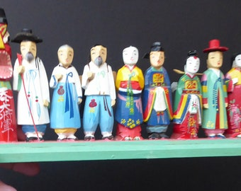 VINTAGE JAPANESE: Very Cute Miniature Set of Carved Wood Figures. 8 Models Mounted on a Wooden Base