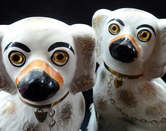 LARGE Antique Pair of Staffordshire Dogs Chimney Spaniels / Wally Dugs; 11 1/2 inches. Yellow glass eyes, 1880s