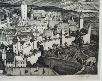 SCOTTISH ART. William Wilson (1905 - 1972). Rothenburg ob der Tauber ETCHING. Signed, Titled  and Dated 1929