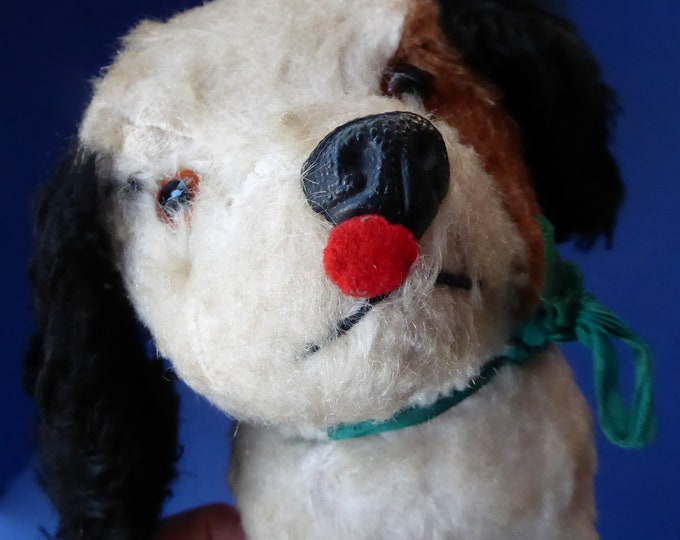 1950s British CHILTERN Doggie Soft Toy. Original Label. Mohair with Wagging Tail Action. Very Cute!