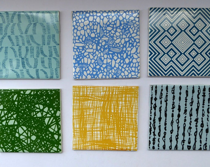 1960s VINTAGE Wall TILES. H&R Johnson. Set of Six Individual Abstract Designs. 4 1/2 inches each side