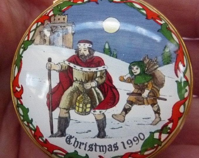1990 Halcyon Days Enamels Christmas Box. Good King Wenceslas. Excellent Vintage Condition