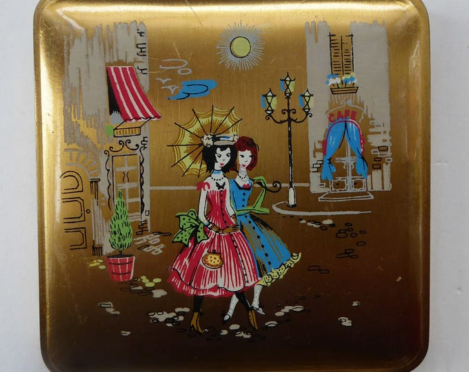 Vintage 1950s CIGARETTE CASE by Mascot. Gold Tone Lid with Painted Images of Two Girls Walking Along a Parisian Street